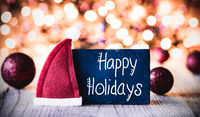 Plate, Calligraphy Happy Holidays, Santa Hat, Purple Ball