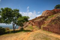 Ruins on top of Sigiriya Lion's rock palace and fortress.Sri Lanka.