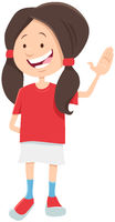 happy teen girl character cartoon illustration