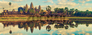 Angkor Wat temple at sunset. Siem Reap. Cambodia. Panorama