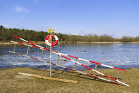 Rescue ladder at Habermannsee Lake in Kaulsdorf, Berlin, Germany
