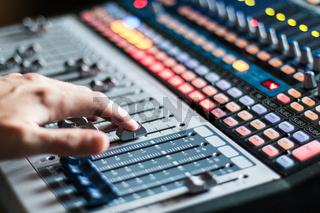 Sound recording studio mixer desk: professional music production
