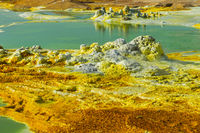 Colorful hot springs, geothermal field of Dallol, Danakil depression, Afar Triangle, Ethiopia