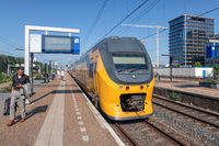 Express train waiting at railway station Amsterdam Zuid, the Netherlands