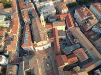 flight over San Domenico church in Ancony Italy