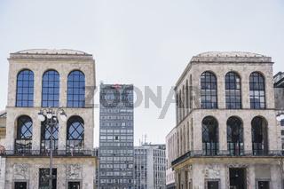 Milan, Italy Museo del Novecento view at Piazza del Duomo.