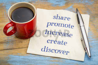 Share, promote, increase, create, discover - power words