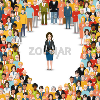 Woman stayed in crowd, conceptual illustration