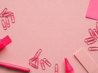 Pink office utensils
