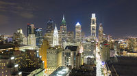 Night Time Inner City Downtown Philadelphia Pennsylvania Aerial