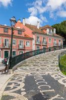 Mosaics in the pavement of Jardim da Graça square, Lisbon, Portugal, Europe