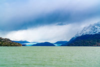 View of Grey Glacier and Grey Lake at Torres del Paine National Park