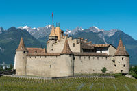 Aigle, VD / Switzerland - 31 May 2019: the historic castle at Aigle in the Swiss canton of Vaud with