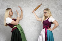 Photomontage - argument between two girls