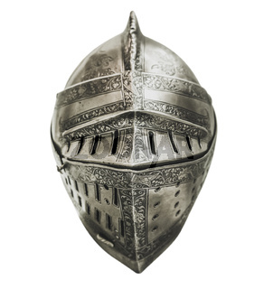 Isolated Medieval Knights Armour Helmet