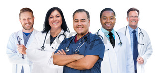 Group of Mixed Race Female and Male Doctors Isolated on White