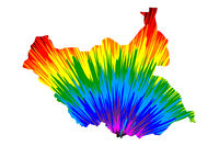 South Sudan - map is designed rainbow abstract colorful pattern, Republic of South Sudan map made of color explosion,