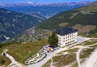 Weisshorn Hotel above the valley Val d'Anniviers, Saint-Luc, Valais, Switzerland