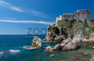 Lawrence fortress in the old town of Dubrovnik in Croatia with kayakers