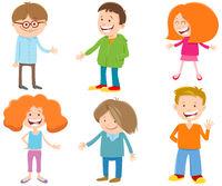 cartoon happy kids ant teen characters set