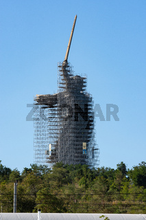 Volgograd, Russia - August 26, 2019: Reconstruction of the monument 'Motherland' in Volgograd, scaffolding around the statue