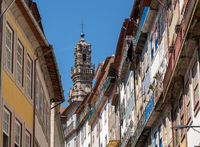 View along the street to Torres dos Clerigos in Porto