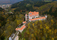 Castle Pernstejn in Czech Republic - aerial view