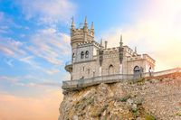 Beautiful view on the Swallow Nest Castle in the sky, Crimea, Ukraine