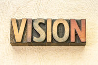 vision word abstract in wood type