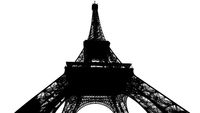 Eiffel Tower silhouette isolated on white