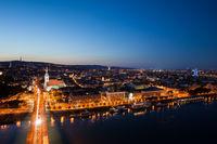 City of Bratislava at Twilight in Slovakia