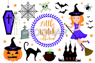 Cute little witch halloween set objects. Collection design element with pumpkin, witch hat, spider, skull, coffin, bat. Kids baby clip art funny smiling character. Vector iillustration.