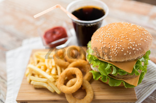 close up of hamburger and other fast food