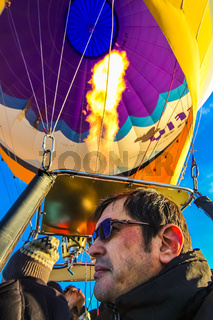 Tourists on a hot air balloon ride