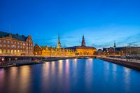 Night view on Christiansborg Palace in Copenhagen, Denmark
