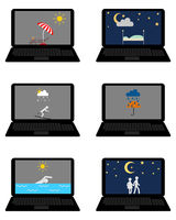 Verschiedene Wettersymbole und Freizeitaktivitäten auf Laptop - Various weathers symbols and leisure activities on laptop