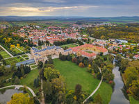 Castle Lednice in Czech Republic - aerial view