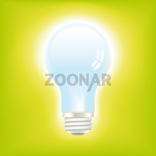 Icon of a bright light bulb over green background.