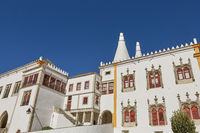 Palace of Sintra (Palacio Nacional de Sintra) in Sintra Portugal during a beautiful summer day.