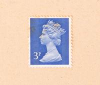 UNITED KINGDOM - CIRCA 1970: A stamp printed in the United Kingdom shows queen Elizabeth, circa 1970