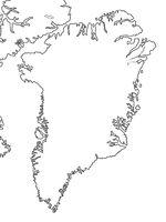 World Map of GREENLAND: Greenland, Arctic Archipelago, Atlantic Ocean. Geographic chart.
