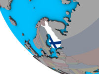 Finland with flag on 3D globe