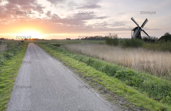 sunrise over rural road and windmill