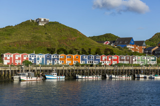 Bright and colorful houses on the island of Helgoland
