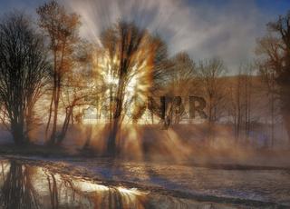 Wintermorgen an der Wupper im Bergischen Land in Solingen,Nordrhein-Westfalen,Deutschland
