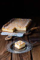 juicy cheesecake from tin with crumbles