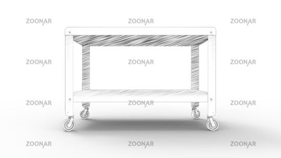 3d rednering of a coffee table on wheels isolated in white background