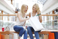 Women looking into shopping bag