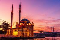 Ortakoy Mosque at purple sunrise, Istanbul, Turkey