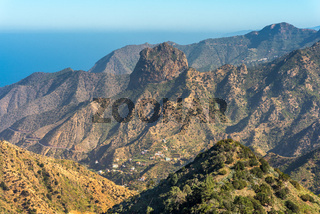 View to the Roque Cano, a famous volcanic plug on the north side of La Gomera